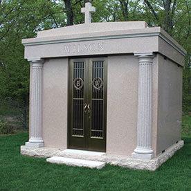 Beautiful Mausoleum with bronze doors custom engraving.