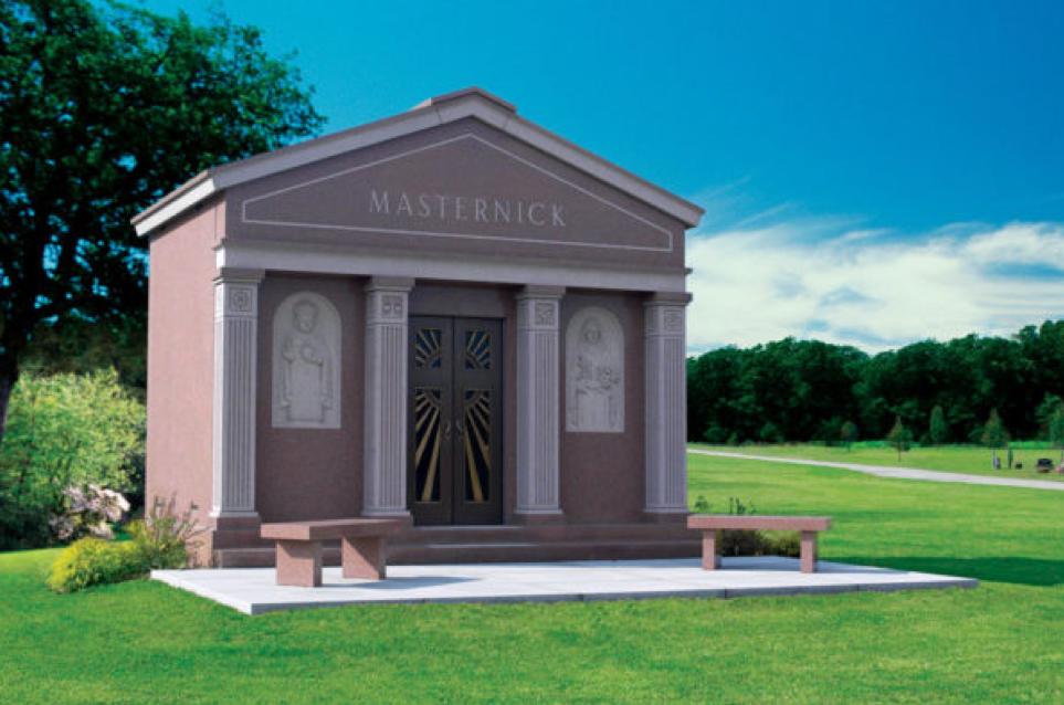 Red granite mausoleum.