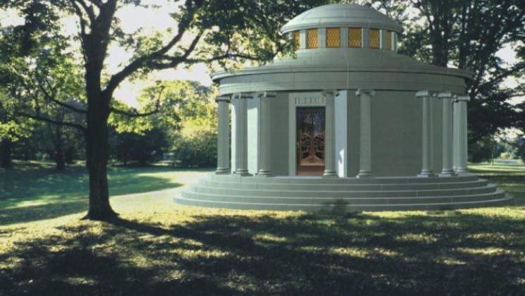 Large, grand mausoleum.